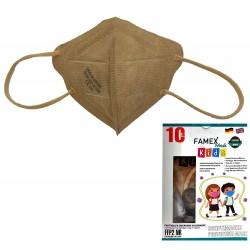 Παιδική μάσκα προστασίας FAMEX POLI FFP2  με φιλτράρισμα , 10 τμχ ,Μπέζ.