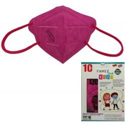 Παιδική μάσκα προστασίας FAMEX POLI FFP2  με φιλτράρισμα , 10 τμχ ,Σκούρο Ρόζ.