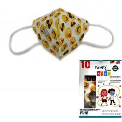 Παιδική μάσκα προστασίας FAMEX POLI FFP2  με φιλτράρισμα , 10 τμχ ,σχεδιο emoticons.