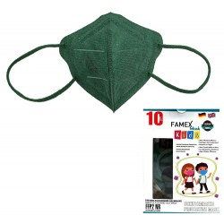 Παιδική μάσκα προστασίας FAMEX POLI FFP2  με φιλτράρισμα , 10 τμχ ,Πράσινο του δάσους.