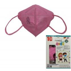 Παιδική μάσκα προστασίας FAMEX POLI FFP2  με φιλτράρισμα , 10 τμχ ,Ρόζ.