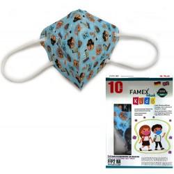 Παιδική μάσκα προστασίας FAMEX POLI FFP2  με φιλτράρισμα , 10 τμχ ,σχεδιο Πειρατές.