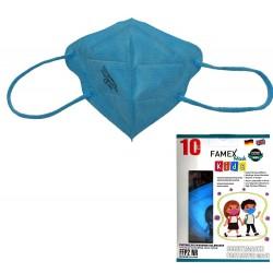 10 τμχ γαλάζιες παιδικές μάσκες με FFP2 φίλτρο