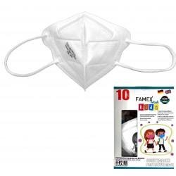 Παιδική μάσκα προστασίας FAMEX POLI FFP2  με φιλτράρισμα , 10 τμχ ,λευκό.